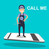 Repair Man standing on smartphone. Flat design vector illustration Repair Man standing on smartphone. app service call Royalty Free Stock Photos