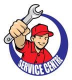 Repair man. Vector of repair man holding a wrench royalty free illustration