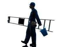 Repair man worker ladder walking silhouette Stock Image