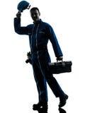 Repair man worker saluting silhouette Stock Photography