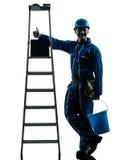 Repair man worker silhouette Royalty Free Stock Photos