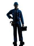 Repair man worker standing smiling  silhouette Royalty Free Stock Photos