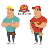 Repair man with wrench and drill in hand. Plumber, mechanic or handyman in work clothes.Set of two characters. Flat vector illustr. Repair man with wrench and Royalty Free Stock Image