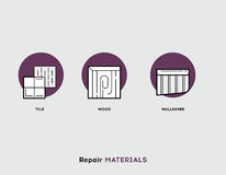 Repair Materials. Flat Illustration Set of Line Modern Icons Royalty Free Stock Photography