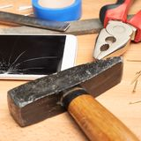 Repair mobile phone composition Royalty Free Stock Photo