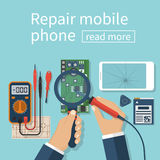 Repair mobile phone. Vector illustration, flat design. Technician men working with electronics. Desk with tools for service. Broken smartphone Royalty Free Stock Image