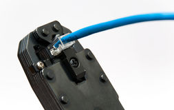 Repair of a network cable Stock Photo