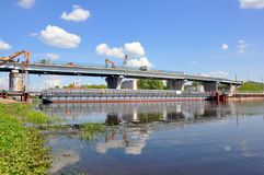 Free Repair Of The Bridge Over The Pina River In Pinsk. Movement Of Cars In Time Stock Photo - 149199560
