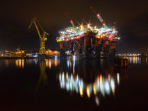 Repair of the oil rig in the shipyard. Stock Photography