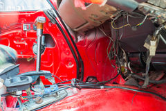 Repair of old car in the garage Stock Photos