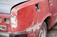 Repair of the old car: primer, putty Stock Photography