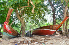 Repair Old Fishing Boat at Rawai Beach of Phuket Thailand Stock Images