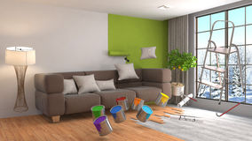 Repair and painting of walls in room. 3D illustration. Stock Image