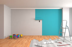 Repair and painting of walls in room. 3D illustration. Royalty Free Stock Photography