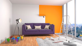 Repair and painting of walls in room. 3D illustration Stock Image