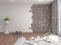 Repair and painting of walls in room. 3D illustration Royalty Free Stock Image