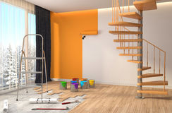 Repair and painting of walls in room. 3D illustration Royalty Free Stock Photo