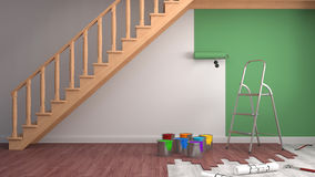 Repair and painting of walls in room. 3D illustration Royalty Free Stock Photos