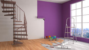 Repair and painting of walls in room. 3D illustration Stock Photo