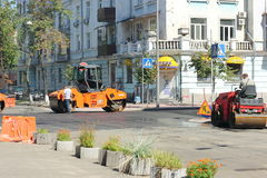 Repair of pavement in the city Stock Photo
