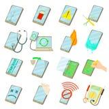 Repair phones fix icons set, cartoon style Stock Image