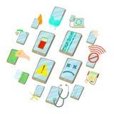 Repair phones fix icons set, cartoon style. Repair phones fix icons set. Cartoon illustration of 16 repair phones fix vector icons for web royalty free illustration