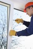Repair of plastic windows stock image