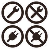 Repair and plug symbols Royalty Free Stock Photography