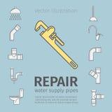Repair, plumbing work, plumbing systems, plumber tool, sewage. Thin line icon set. Stock Photography