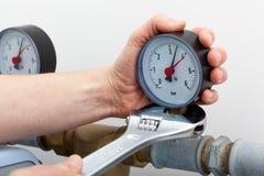 Repair of a pressure gauge Royalty Free Stock Photos