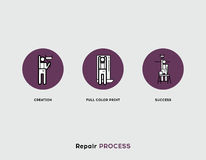 Repair Process. Flat Illustration Set of Line Modern Icons Royalty Free Stock Photos