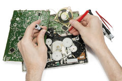 Repair  of the radio electronic device Royalty Free Stock Photos