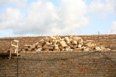 Repair and reconstruction of the walls of a fortress Royalty Free Stock Images
