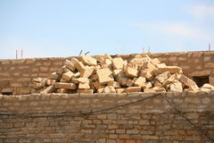 Repair and reconstruction of the walls of a fortress Royalty Free Stock Image