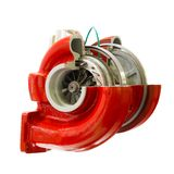 Repair red turbocharger turbine of car isolated on white background Stock Photography