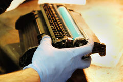 Repair and refilling of the laser cartridge Stock Photos