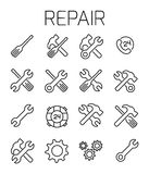 Repair related vector icon set Royalty Free Stock Image