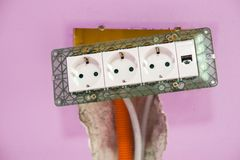 Repair, renovation, electricity and wire installation renovating room stock image
