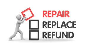Repair, replace or refund. Business metaphor. 3d illustration Royalty Free Stock Photography