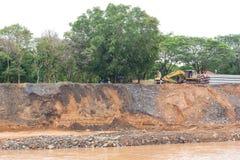 Repair the river bank landslide. Stock Image