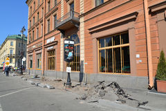Repair of road pavements near the hotel Astoria in Saint Petersb Royalty Free Stock Photos