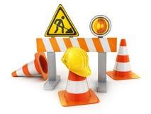 Repair road sign and cones. Repair road sign and orange cones and yellow helmet. 3d illustration Royalty Free Stock Image