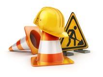 Repair road sign and orange cones Royalty Free Stock Images