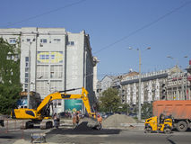 Repair of road surface on one of the squares of Kharkiv.  royalty free stock image