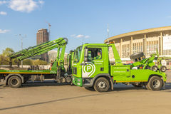 Repair of roads in Moscow. machine tow truck Royalty Free Stock Photo