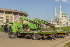 Repair of roads in Moscow. machine tow truck Stock Photos