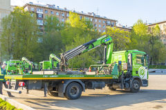 Repair of roads in Moscow. machine tow truck Royalty Free Stock Image