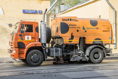 Repair of roads in Moscow. Street cleaning machine Royalty Free Stock Image