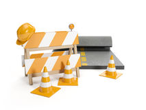 Repair roads, replacing the road. signs Royalty Free Stock Image