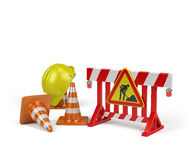 Repair of roads. Repair of road, passage is closed. 3d image. White background Royalty Free Stock Images